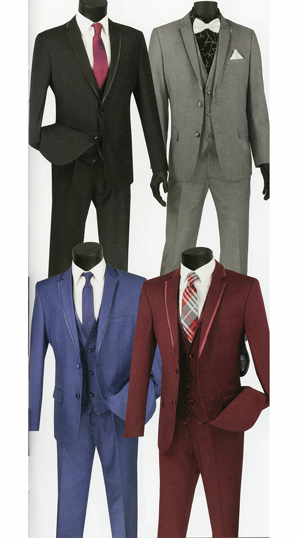 Vinci SV2T-8 Three-Piece Slim Fit Mens Suit With Trimmed Lapel