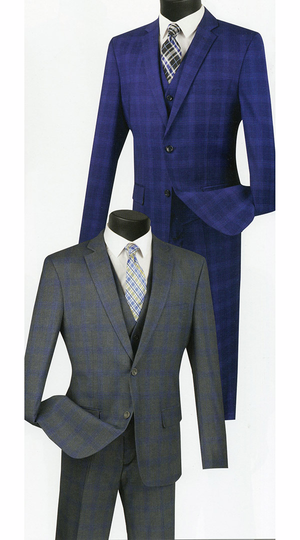 Vinci SV2W-4 Slim Fit Mens Suit With Glen Plaid Pattern