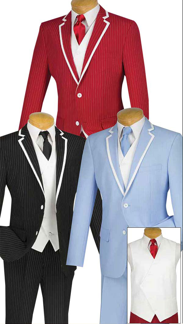 Vinci SVFF-1 Three-Piece Slim Fit Mens Suit With Fancy White Vest