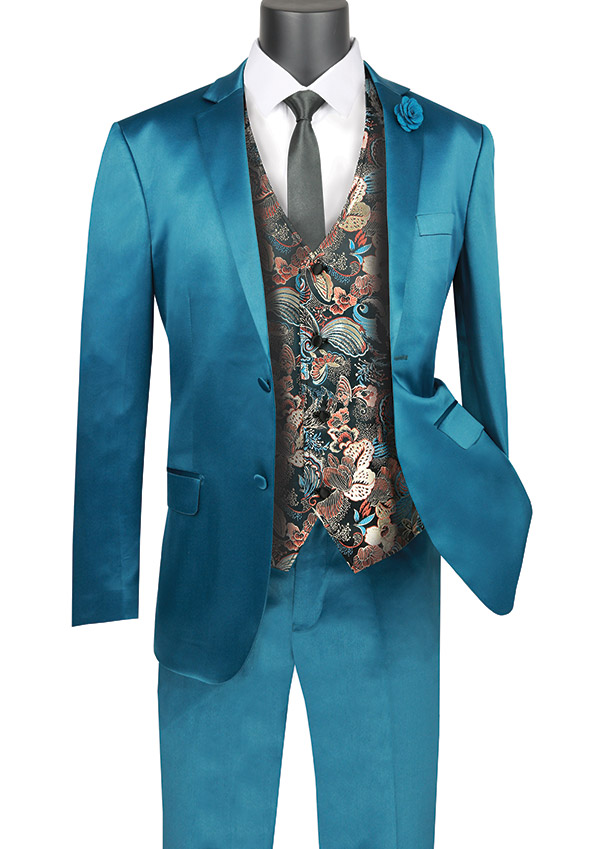 Vinci SVFF-2-Teal - Slim Fit Mens Suit With Fancy Vest