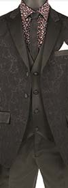 Vinci T-SF-Black - Mens Slim Fit Tuxedo With Peak Lapel & Jacquard Pattern