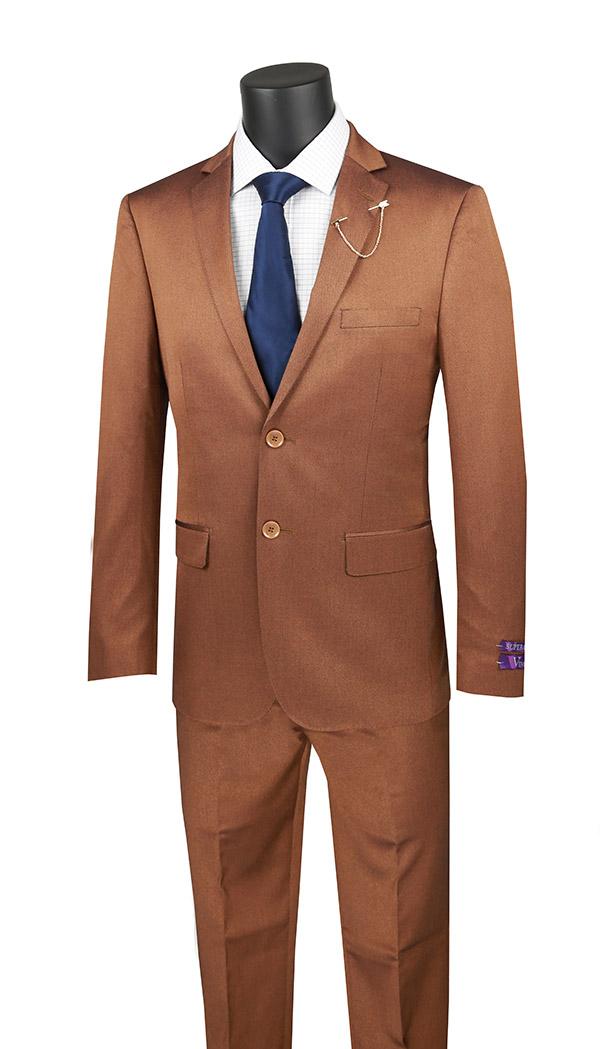 Vinci-US2R-2-Amber - Ultra Slim Mens Suit With Side Vents