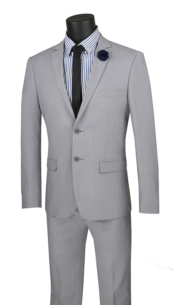 Vinci-USDX-1-Grey - Stretch Ultra Slim Mens Suit With Side Vents