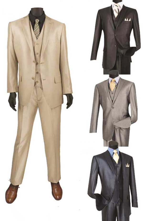 Vinci V2RR-1 Shiny Solid Three Piece Suit For Men