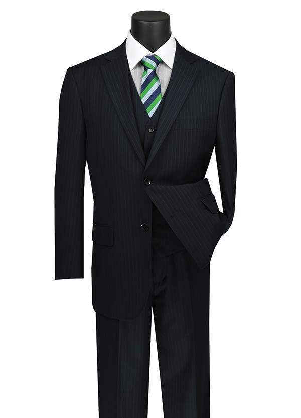 Vinci V2RS-7-Navy - Mens Three Piece Pin Striped Suit With Single Pleat Pants