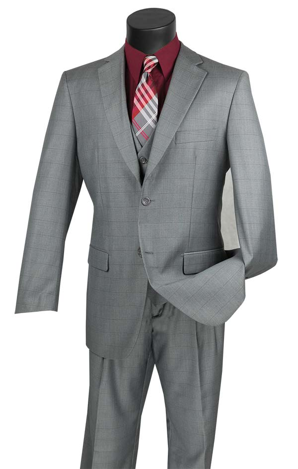 Vinci V2RW-11-Gray - Mens Window Pane Three Piece Suit