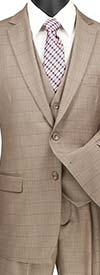Vinci V2RW-15-Tan - Mens Window Pane Three Piece Suit