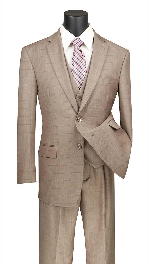 Vinci V2RW-15-Tan - Mens Window Pane Three Piece Suit