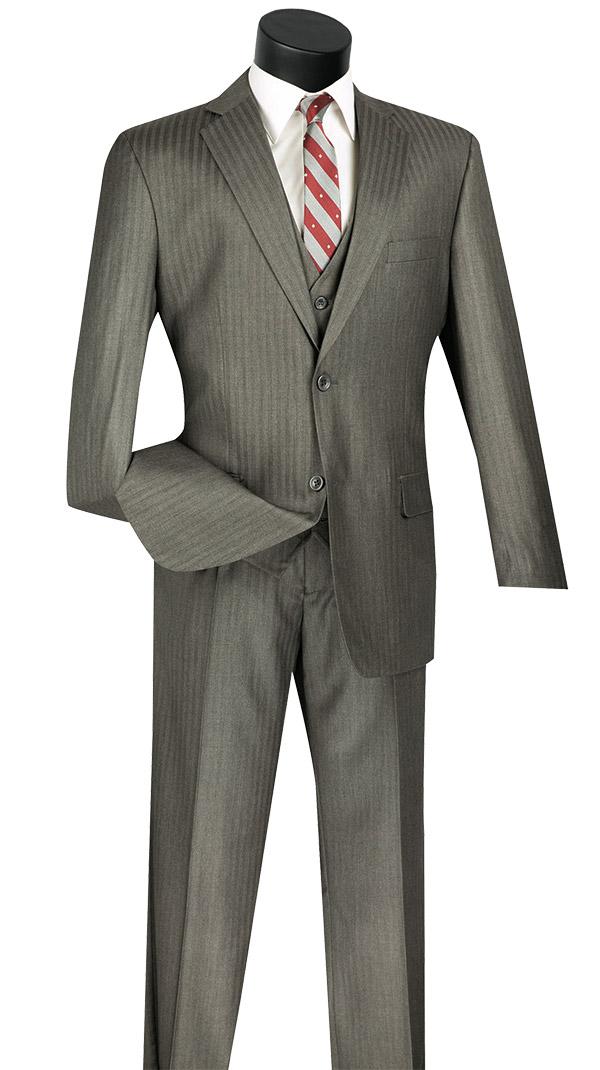 Vinci V2TT-8-Gray - Mens Single Breasted Tone On Tone Striped Suit