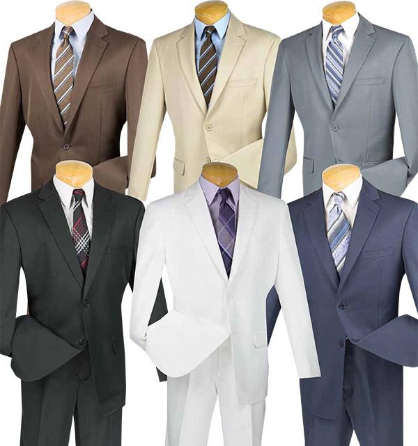Vinci 2AA Mens Gabardine Suit With Flexible Waist Band