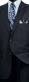 Vinci 2RS-16-Navy -  Mens Single Breasted Two Button Fancy Striped Suit