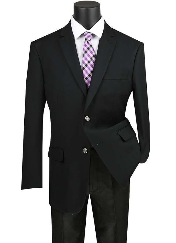 Vinci B-TR-Black -  Mens Classic Notch Lapel Regular Fit Sport Coat