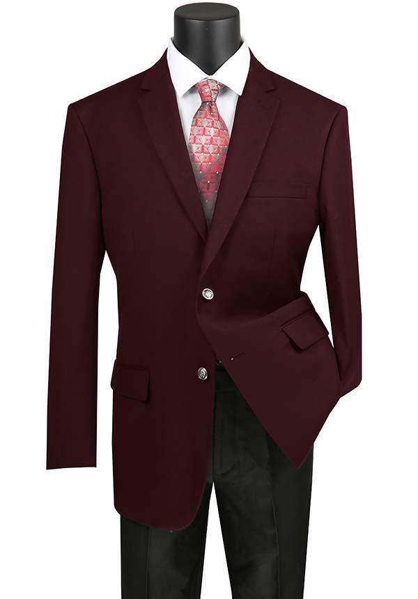 Vinci B-TR-Burgundy -  Mens Classic Notch Lapel Regular Fit Sport Coat