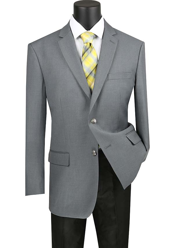 Vinci B-TR-Gray -  Mens Classic Notch Lapel Regular Fit Sport Coat