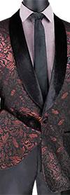 Vinci BF-1 Mens Shawl Lapel Sport Coat With Metallic Floral Design