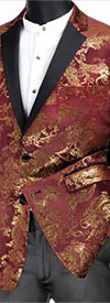 Vinci BS-13 Slim Fit Velvet Sport Coats With Fancy Print Design
