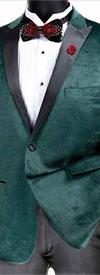 Vinci BS-14 Slim Fit Peak Lapel Velvet Sport Coat With Glen Plaid Design