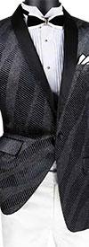 Vinci BS-15-Black - Slim Fit Shawl Lapel Sport Coat With Sparkle Velvet Design
