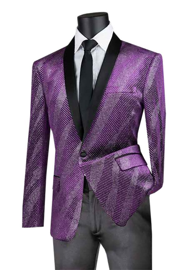Vinci BS-15-Purple - Slim Fit Shawl Lapel Sport Coat With Sparkle Velvet Design