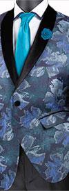 Vinci BSF-11 Slim Fit Shawl Lapel Sport Coat With Metallic Floral Pattern Design