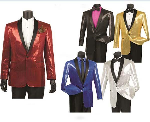 Vinci BSQ-1 Mens Shawl Collar Sport Coat With Sequins