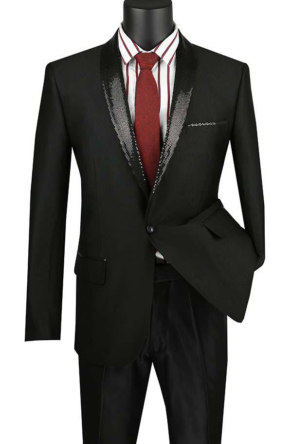 Vinci BSQ-3-Black Slim Fit Sharkskin Sport Coat With Sequin Shawl Lapel