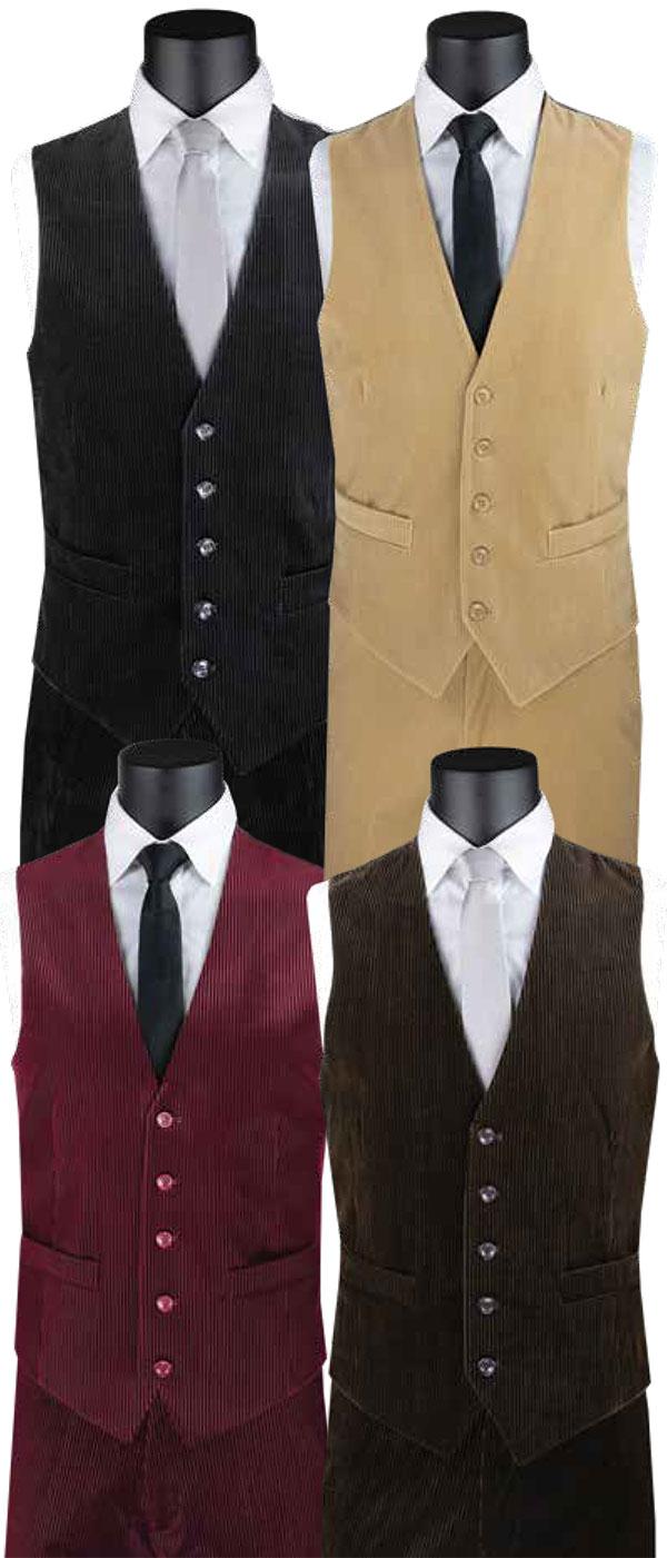 Vinci CORD-1 Mens Slim Fit Vest & Pants Set In Corduroy Design