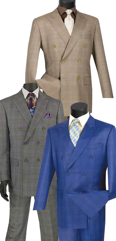 Vinci DRW-1 Mens Double Breasted Glen Plaid Suit