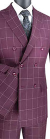 Vinci MDW-1 Window Pane Pattern Modern Fit Mens Double Breasted Suit