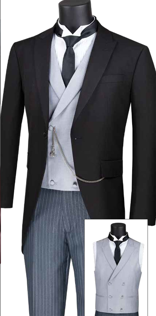 Vinci MTC-1 Modern Fit Mens Tail Style Tuxedo With Striped Pants And Double Breasted Vest