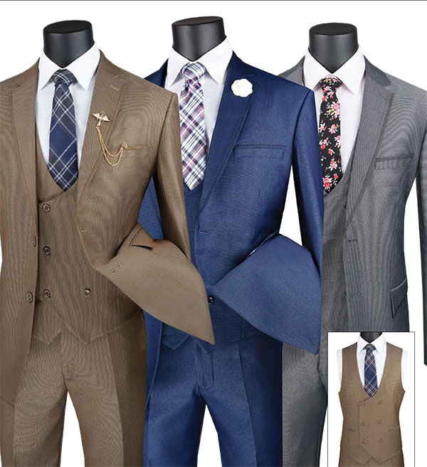 Vinci MV2B-1 Birdeye Pattern Modern Fit Mens Suit With Double Breasted Vest And Contrasting Trim