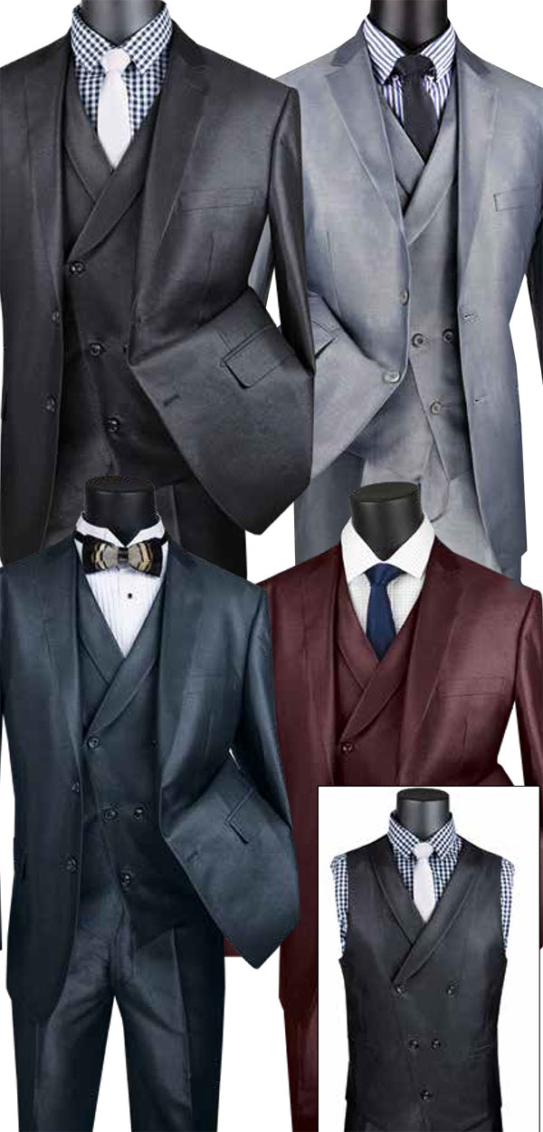 Vinci MV2R-1 Shiny Solid Design Modern Fit Mens Suit With Double Breasted Vest