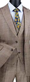 Vinci MV2W-1 Glen Plaid Pattern Modern Fit Mens Peak Lapel Suit With Fancy Vest