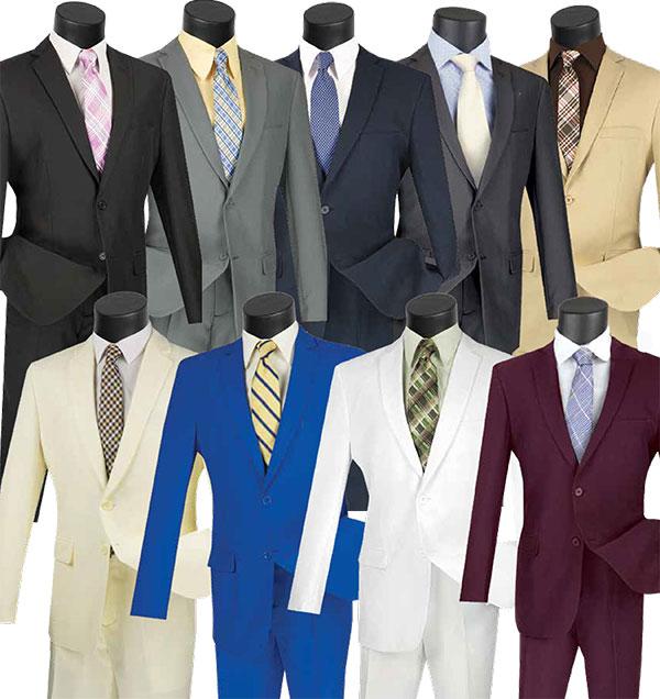 Vinci S-2PP Slim Fit Single Breasted 2 Button Mens Suit