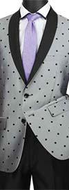Vinci S2DR-5 Slim Fit Shawl Mens Suit With Polka Dot Jacket
