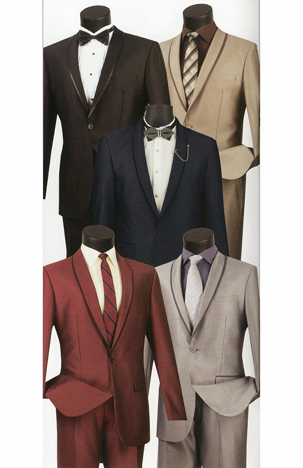 Vinci SSH-1 Slim Fit Mens Shark Skin Suit With Shawl Lapel