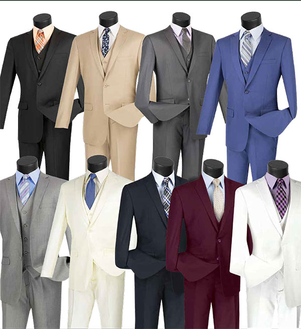 Vinci SV2900 Slim Fit Mens Three Piece Suit For Church