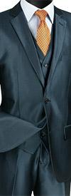 Vinci SV2R-2 Textured Solid Three-Piece Slim Fit Mens Suit