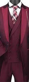 Vinci SV2R-6 Slim Fit Mens Suit With Peal Lapel & Double Breasted Vest
