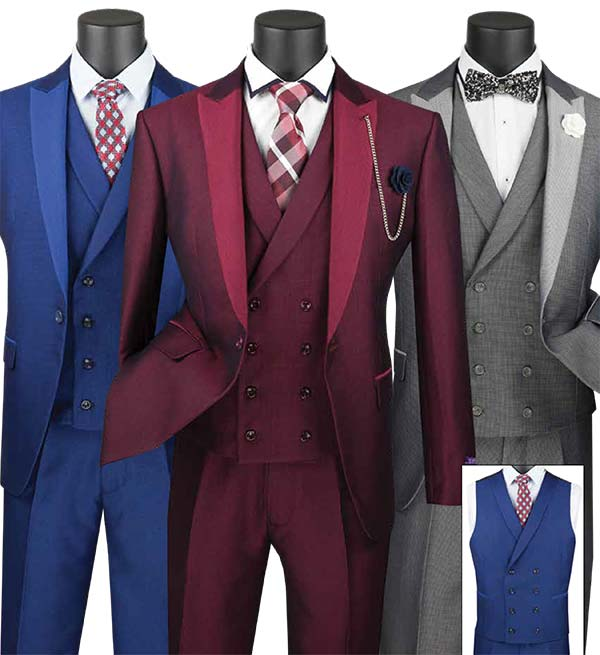 Vinci SV2R-6 Slim Fit Mens Suit With Peal Lapel & Double Breasted Vest
