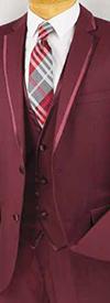 Vinci SV2T-8 Three-Piece Slim Fit Mens Suit With Trimmed Lapel