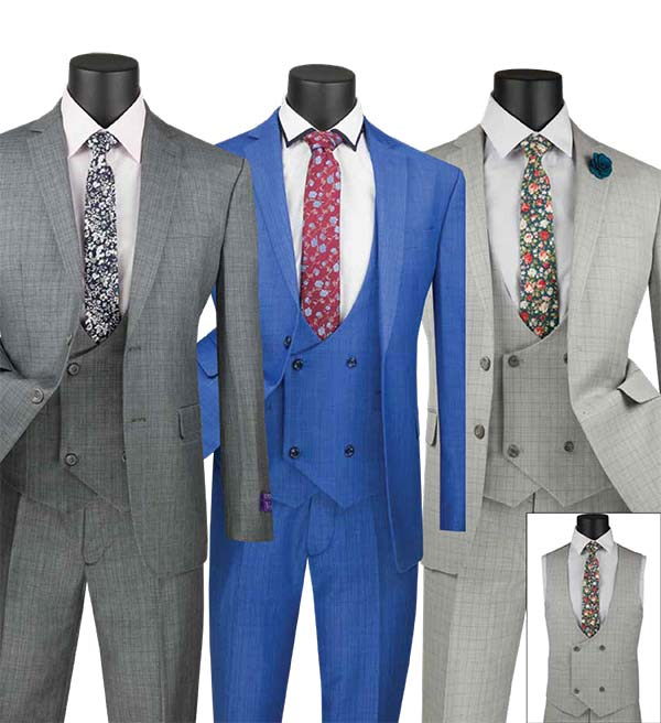 Vinci SV2W-5 Slim Fit Mens Three Piece Suit With Low Cut Double Breasted Vest
