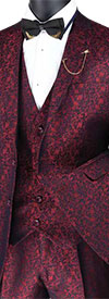 Vinci SVFF-3 Three-Piece Slim Fit Mens Suit With Floral Pattern Design