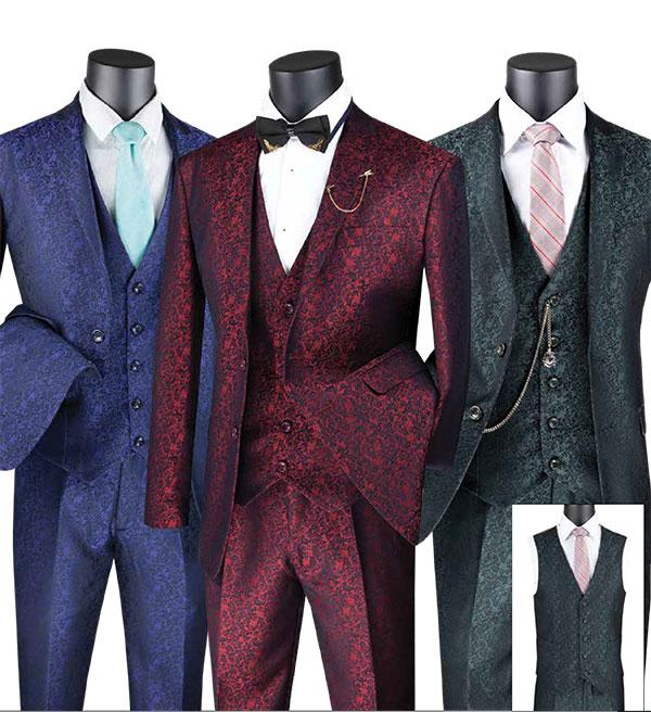 Vinci SVFF-3 Three-Piece Slim Fit Mens Suit With Floral Pattern Design