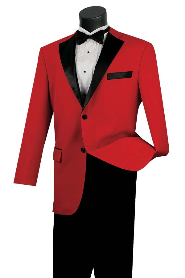 Vinci T-2FF-Red Tuxedo With Fancy Lapel & Pleated Pants