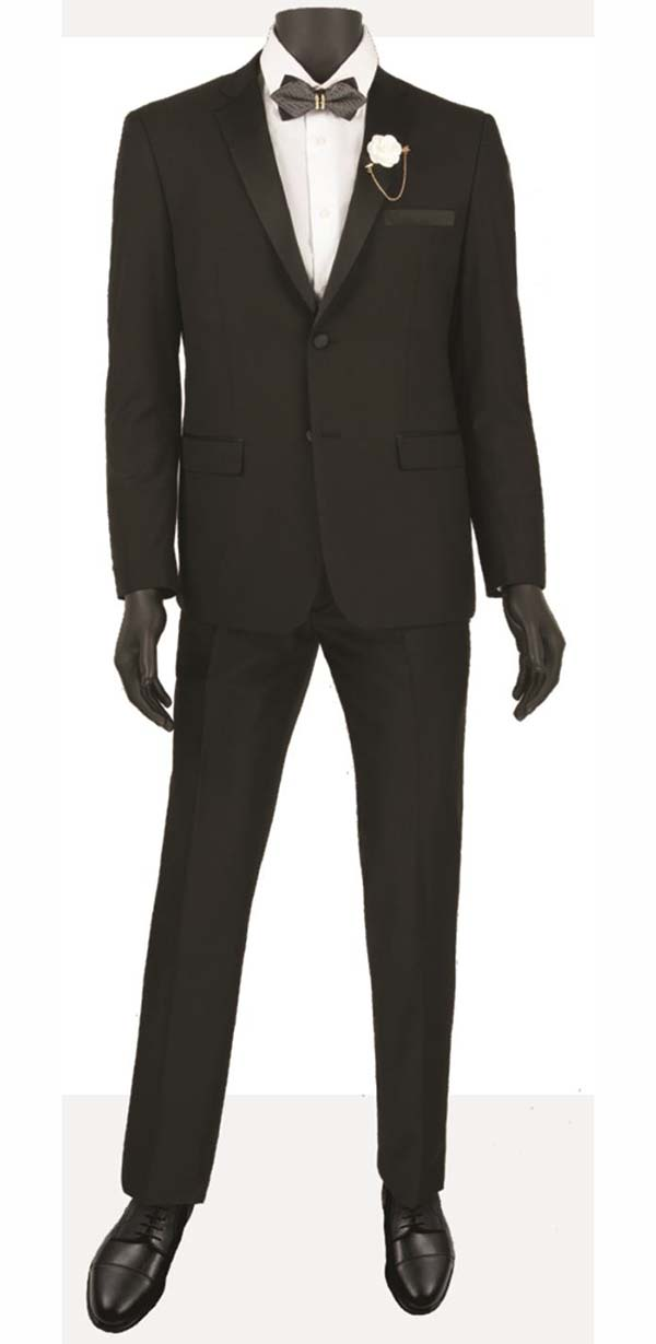Vinci T-US900-Black - Slim Fit Mens Single Breasted Tuxedo