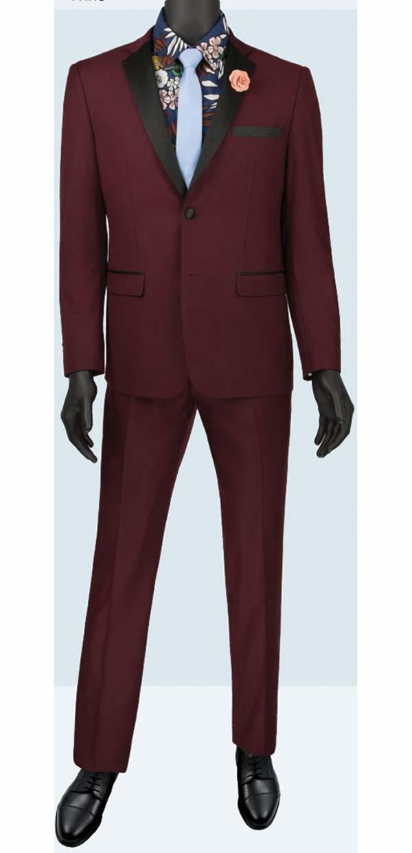 Vinci T-US900-Burgundy - Slim Fit Mens Single Breasted Tuxedo