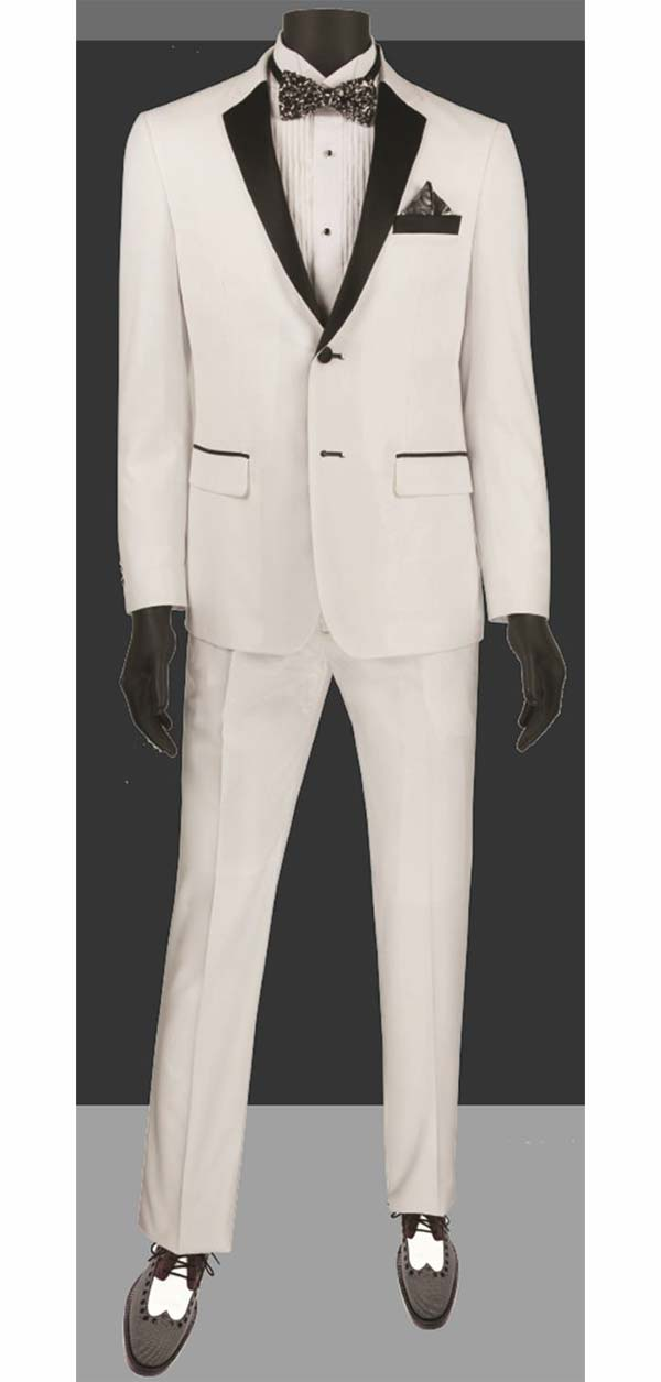 Vinci T-US900-White - Slim Fit Mens Single Breasted Tuxedo