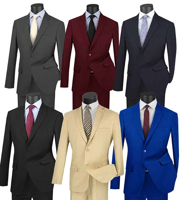 Vinci US-2PP Ultra Slim Mens Suit With Side Vents