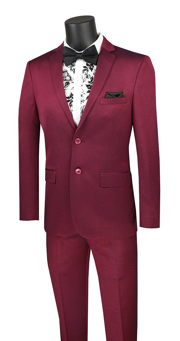 Vinci-US2R-2-Plum - Ultra Slim Mens Suit With Side Vents
